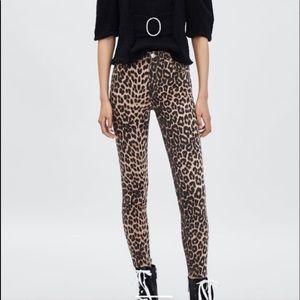 NWT Zara Trafaluc Hi-Rise Skinny Leopard Jeans